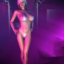 Roxanne On The Catwalk In A Tiny Plastic or Nylon Bikini